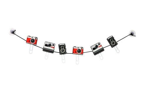 MUSTARD - Clipit Picture Hanger I Fotoseil mit Klammern I Fotoschnur I Postkartenaufhängung I lustige Dekoration I Fotoleine I Inkl. Saugnäpfen zu Befestigung I Kamera - Seil, 2 Saugnäpfe & 6 Clips