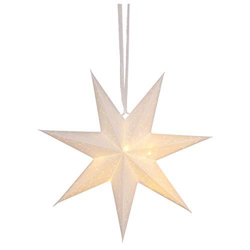 Papieren ster met LED, wit, Ø 45 cm, moeilijk ontvlambaar, 1 stuk