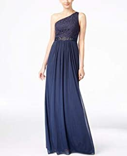 ADRIANNA PAPELL Womens Navy Embellished Lace One Shoulder Go Asymmetrical Neckline Full-Length Evening Dress US Size: 12