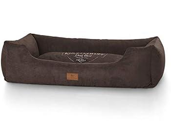 Knuffelwuff panier chien, lit pour chien, coussin, corbeille pour chien Liam, imprimé, marron XXL 120 x 85cm