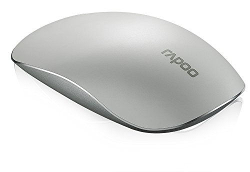 Rapoo T8 kabellose Touch Laser Maus (5 GHz Wireless, umschaltbare 1600 DPI, Aluminium Basis, Multi-Touch-Oberfläche, Nano-USB für Apple, MAC) weiß