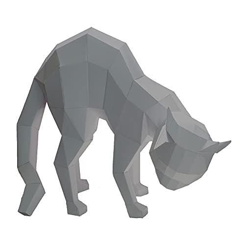 WLL-DP Modelo De Papel 3D Creativo Jugando con Forma De Gato, Decoración Geométrica del Hogar, Rompecabezas De Origami, Escultura De Papel DIY, Juguete De Papel, Artesanía, Juego Hecho A Mano,Gris