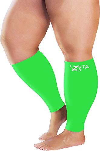 Zeta Sleeve XXL Wide Plus Size pantorrilla compresión, calmante cómodo apoyo degradado, evita la hinchazón, dolor, edema, DVT, puños grandes, elástico a 26 pulgadas, unisex, para enfermeras, ancianos, vuelos (verde)