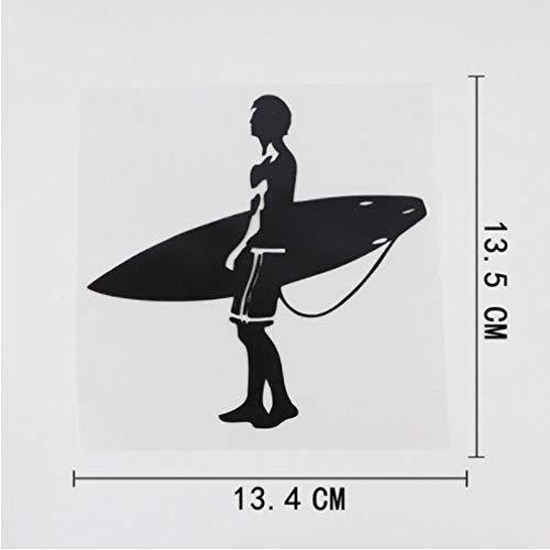 GenericBrands 5 Piezas Etiqueta engomada del Coche 13,4 cm x 13,5 cm Tabla de Surf Surf Hombre calcomanía Vinilo Coche Pegatina Negro