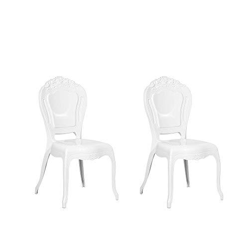Beliani Set di 2 Sedie da Pranzo Moderne in Plastica Bianca Vermont