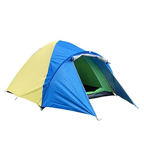 GCS Gcsheng Ultraligero 3-4 Persona Doble Capa Impermeable Carpa Impermeable para al Aire Libre Camping Senderismo Caza Pesca Viajes Picnic turista 320x210x145cm (Color : Yellow Blue)