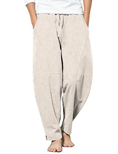 COOFANDY Men's Cotton Linen Elastic Pants Drawstring Waist Harem Loose Pants, Khaki, Medium