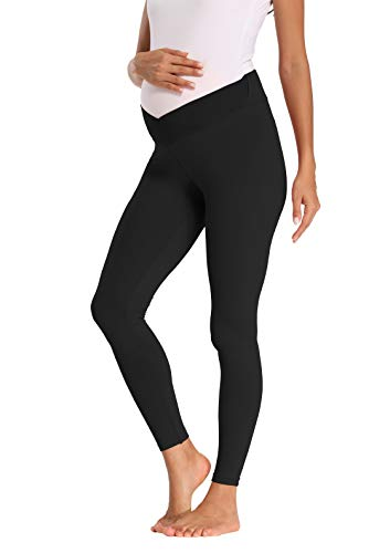 Foucome Women's Maternity Legging Under The Belly Super Soft Support Seamless Elastic Pants (Black, M)