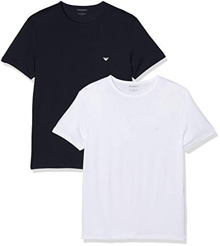 Emporio Armani Underwear Herren 1112677P722 Zweiteiliger Schlafanzug, Mehrfarbig (Marine/Bianco 17135), Medium