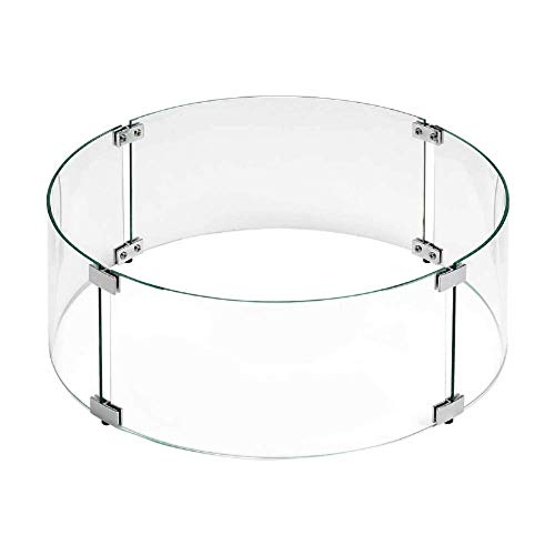 Round Outdoor Fire Pit Wind Guard, 17', Tempered Glass