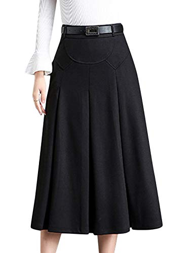 Tanming Womens Winter High Waist A-Line Pleated Wool Long Skirt with Waist Loops (Black, Small)