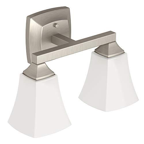 Moen YB5162BN Voss - Mueble de baño con 2 luces (cristal esmerilado, níquel cepillado)