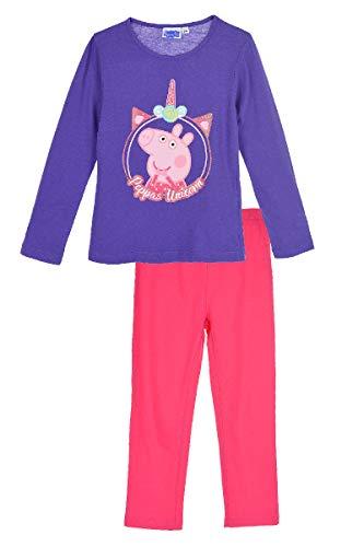 Peppa Wutz Schlafanzug Mädchen Langarm Pyjama Peppa Pig (Lila 2, 128)