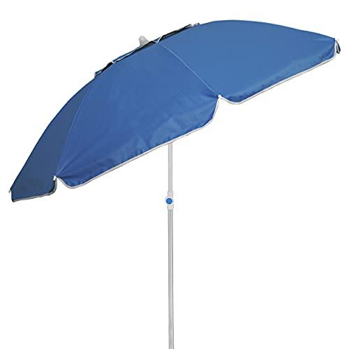 Besch Sombrilla para Playa, Jardín o Piscina, Aluminio e Inclinable con Protección Solar UV50+ y Cubierta con Ventilación. (Ø 180cm,Azul)