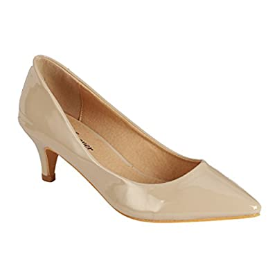 Coshare Women's Fashion Patent Embellished Front Low Heel Pumps,