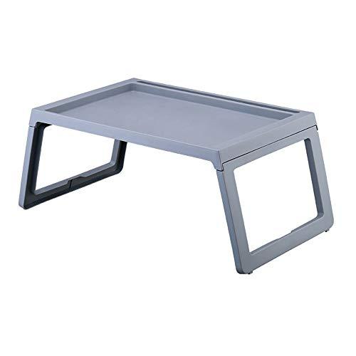 KEKOR Mesa plegable, bandeja de desayuno, soporte para portátil, multifunción, mesa de ordenador plegable, para dormitorio, mesa plana, ideal para pequeños ordenadores portátiles (color: gris)