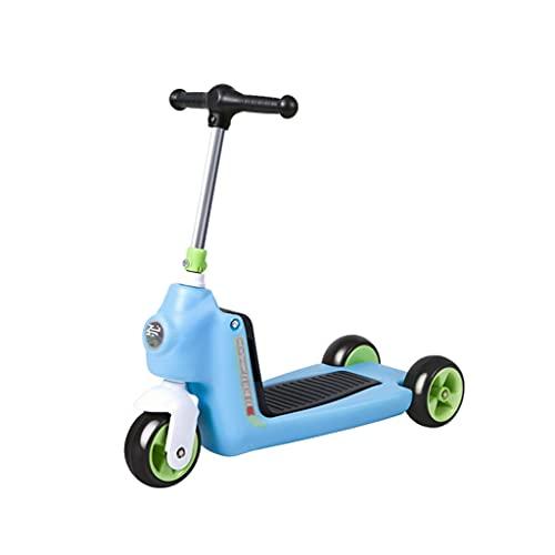 LICHUAN Scooter Kick Scooters para niños – Scooter plegable con asiento extraíble, 3 ruedas, freno de rueda trasera, tabla de pie ancha y altura ajustable – Patinete de 100 libras (color azul)