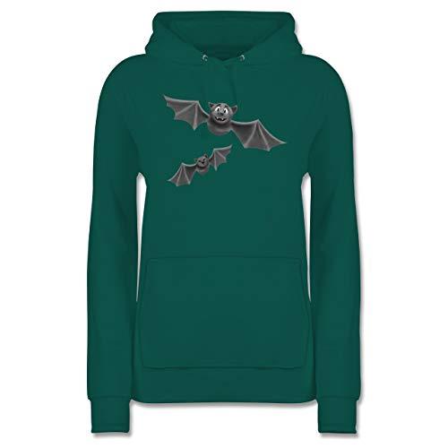 Halloween - süße Fledermäuse - M - Türkis - Fledermaus Hoodie - JH001F - Damen Hoodie und Kapuzenpullover für Frauen