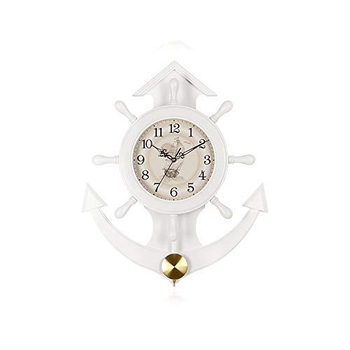 Yuanyuanliu Han Uhr Uhr wanduhr Wohnzimmer Hause Uhr persönlichkeit kreative Europäische dekorative stumm solide holzruder wanduhr HP09 (Color : White Solid Wood)