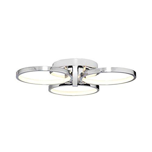 Homemania Lámpara de techo Orbis plafón, redonda, de pared, cromo, de metal, 56 x 56 x 12 cm, 1 x LED, 45 W, 4725 lm, 4200 K, luz blanca natural