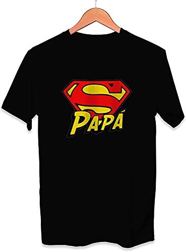 Camiseta Super Papá Dia del Padre Superman - Unisex Tallas Adultas e Infantiles - Frase motivadora - Regalo Original para Papá Cumpleaños (Negro, L)