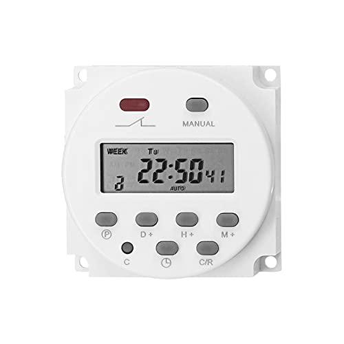 Interruptor temporizador digital KKmoon programable semanal Temporizador eléctrico montado en panel 16 programas independientes de encendido/apagado para el hogar Luces de oficina Ventiladores TV
