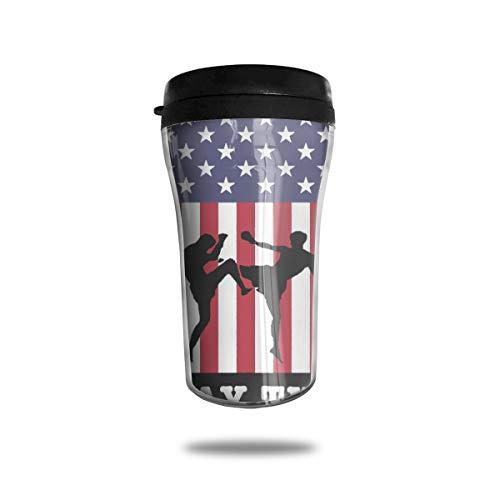 OUYouDeFangA - Taza de café con diseño de Bandera Estadounidense de Muay Thai Boxing, con impresión 3D, Taza de té, Vasos de Agua aislados para Beber con Tapa, 250 ml