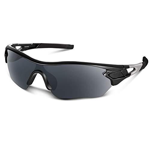 Bea Cool Gafas de sol polarizadas deportivas para hombres, mujeres, jóvenes, béisbol, ciclismo, correr, conducir, pescar, golf, motocicleta, tac, gafas (Negro Mate)