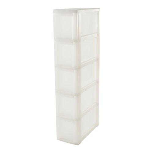 Iris Ohyama,  torre de almacenamiento con 5 cajones sobre ruedas -  New Slim Chest -  NSC- 205,  plástico,  transparente blanco,  50 L,  40 x 20 x 101, 5 cm