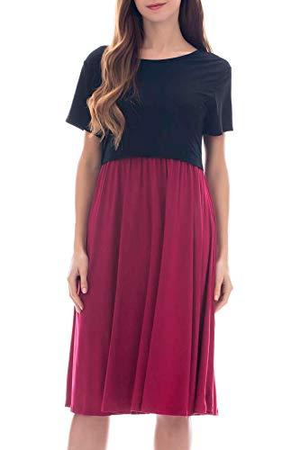 Smallshow Women's Short Sleeve Casual Maternity Nursing Dress for Breastfeeding Black/Wine M
