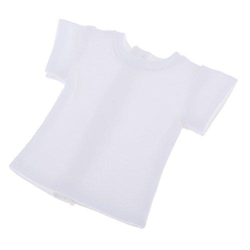 Schöne Reine Farbe T Shirt Kurzarm Für 1/6 BJD Blythe Puppe Kleidung Weiß