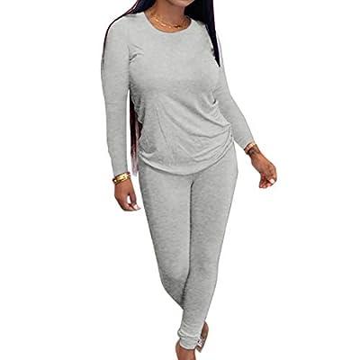 2 Pieces Outfits Set Schoolgirl's Warm Winter V Neck T-Shirt Comfy Long Pant Active Wear Sweatpants Grey