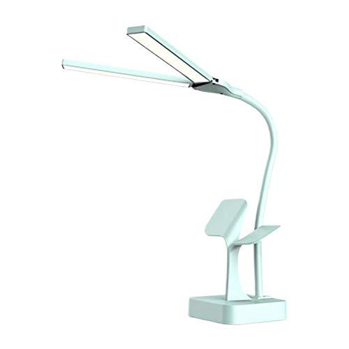 MagiDeal Lámpara de Escritorio protección Ocular lámpara LED 2 Cabezales mesita de Noche lámpara de Escritorio LED luz de Lectura de Escritorio - Azul