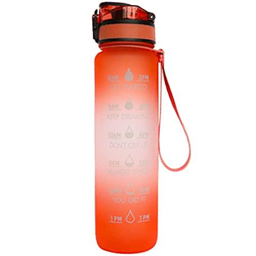 LIBAITIAN Deportiva Jarra Fitness Moda Marcador Tiempo Botellas EcolóGicas PláStico, Botella De Agua Motivacional, Tritan Taza Bebida A Prueba Fugas Correr Al Aire Libre Gimnasio