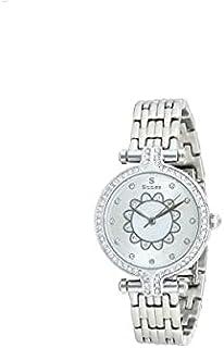 ساعة ستانلس ستيل دائرية انالوج بعقارب مزينة بفصوص للنساء من صنيكس SO389-IPS-W - فضي