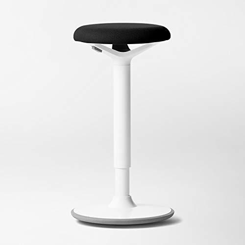 Fully Luna Standing Desk and Task Stool - Ergonomic Balance Office Chair - Slip-Resistant Rubberized Base (White)