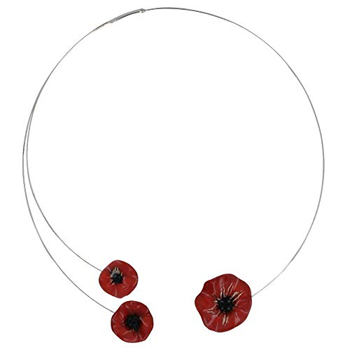 Les Poulettes Jewels - Necklace Choker Metal Three Red Poppies Ceramic with Pistil