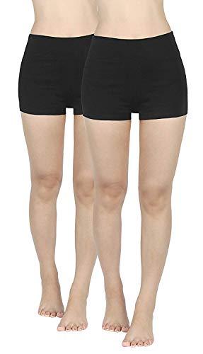 2er Pack Damen Kurze Sporthose Sportshorts Fitness Yoga Shorts Leggins Tights Hotpants schwarz Unterziehhose Unter Kleid Rock aus Baumwolle M