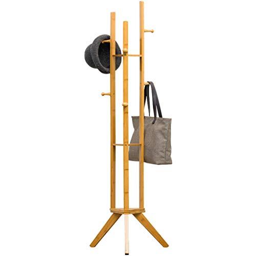 QIFFIY Perchero de madera de pie con perchero de bambú, 2 en 1, estante de almacenamiento, 6 ganchos y 3 estantes de almacenamiento para pasillo de entrada, perchero de madera (color: A)