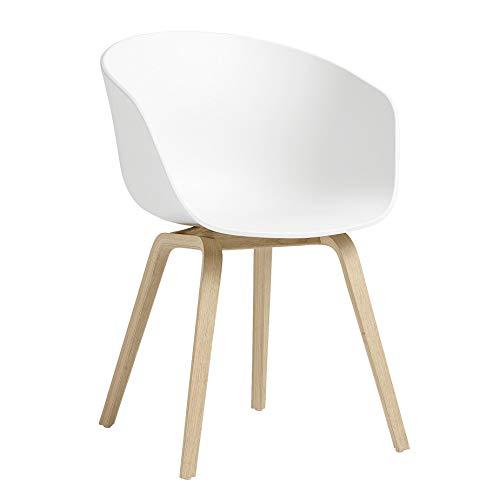 HAY About a Chair AAC Armlehnstuhl Eiche matt lackiert, weiß Sitzschale Polypropylen Gestell Eiche matt lackiert mit Kunststoffgleitern