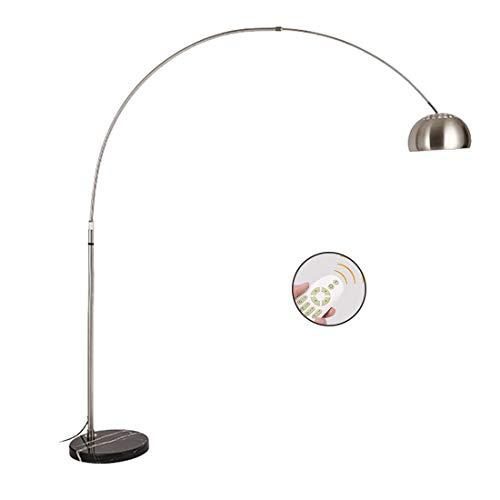 W-star Maximal 12W LED Stehleuchte mit Fernbedienung, höhenverstellbar und drehbar, stufenlos dimmbar, vertikal mit Fußschalter Bogenlampe (Silber),Fernbedienung12W