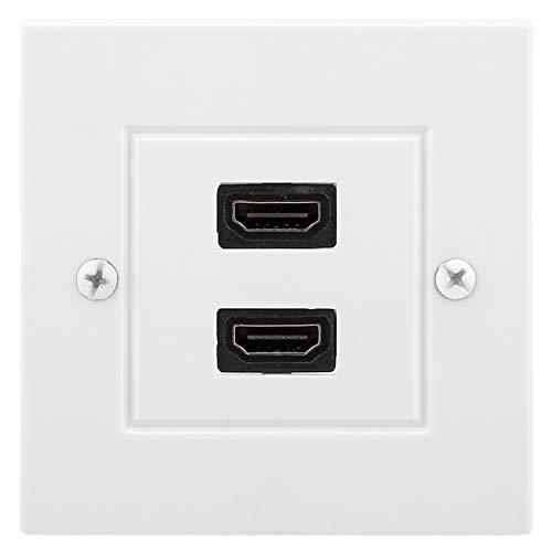 Placa de pared HDMI de doble puerto blanco Placa frontal Placa frontal Placa de pared Toma de HDMI Enchufe Toma de corriente Cubierta decorativa Panel de montaje para edificio de oficinas en el hogar