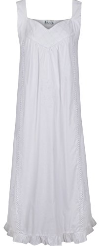 The 1 for U 100% Cotton Nightgown Vintage Design - Nancy (Large) White