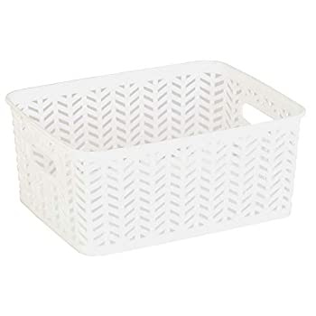Simplify Decorative Plastic Storage Tote Basket Organizer Good for Closets Accessories Toys Desks Floors Cleaning Products Sports Equipment's Dressers or Counter Tops Small White