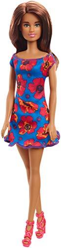 Barbie - Fashionista Muñeca con Cabello Castaño y con Vestido Azul con Flores (Mattel GBK94) , color/modelo surtido