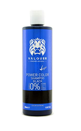 Valquer Profesional Champú Power Color cabellos teñidos. Vegano Y Sin Sulfatos (Cabello negro). Potenciador color cabello - 400 ml.