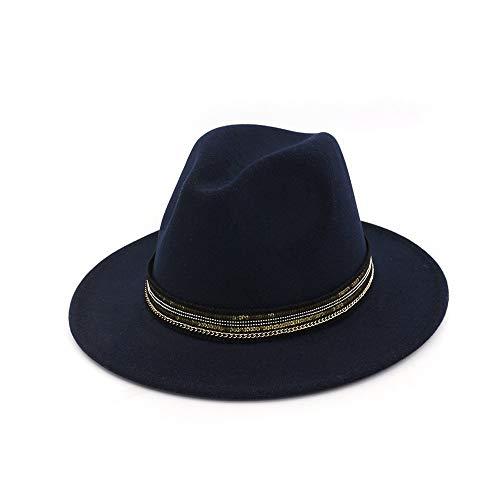 TX GIRL Le Feutre de Laine Chapeau Fedora Hommes Femmes avec Ruban rayé Large Brim Hat Jazz Hat Fascinator (Color : Drak Blue, Size : 56-58)