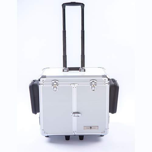 CS-KOSMETIKVERTRIEB Fuß-Pflege-Koffer mit Stauraum & Fixiergurt - Kosmetik-Koffer mit Rollen für einfachen Transport - Midi White Pearl