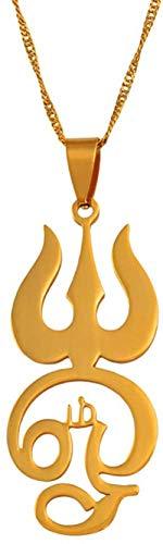 Aluyouqi Co.,ltd Collar Tamil Om Sign Collares Pendientes para Mujeres niñas Color Dorado Acero Inoxidable Tamil Om Símbolo Joyería India