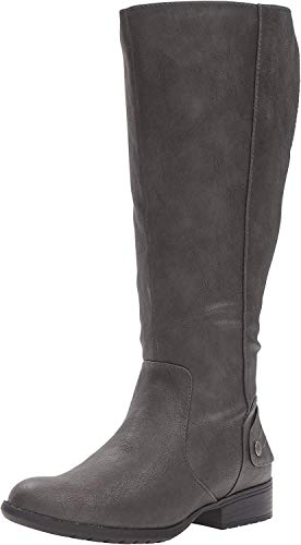 LifeStride Women's Xandywc Riding Boot- Wide Calf, Dark Grey, 8 M US